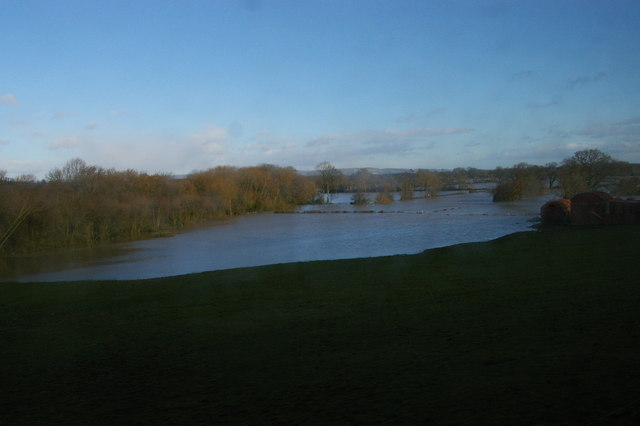 Cefn, near Welshpool: flooded Severn valley, from the train
