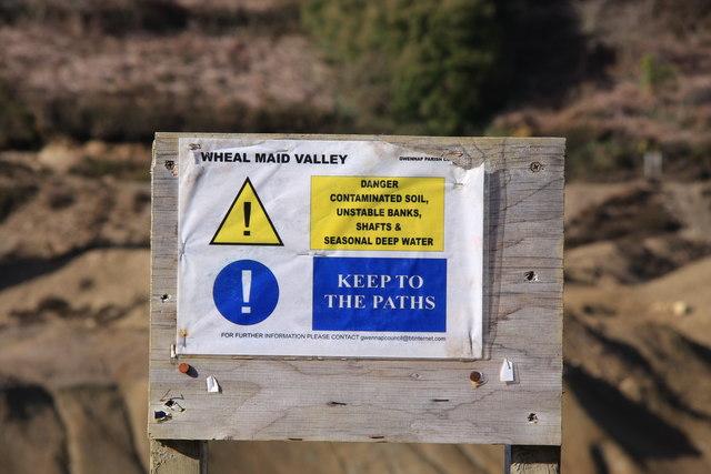 Warning Sign, Wheal Maid Valley