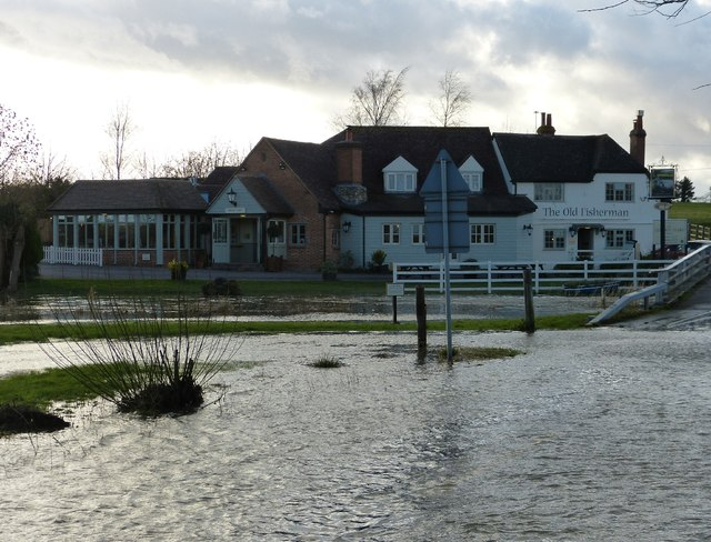 The Old Fisherman by the flooded River Thame