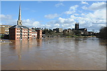 SO8454 : The flooded River Severn in Worcester by Philip Halling