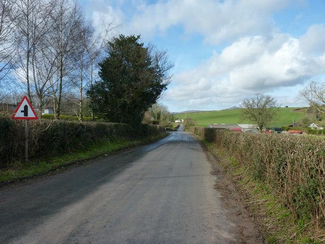 The B4233 north of Llanddewi Rhydderch