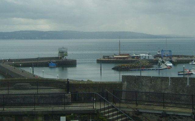 The entrance to Carrickfergus Harbour viewed from the keep of Carrickfergus Castle