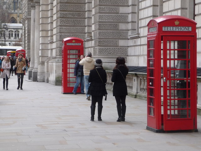 London: four phone boxes in Parliament    © Chris Downer
