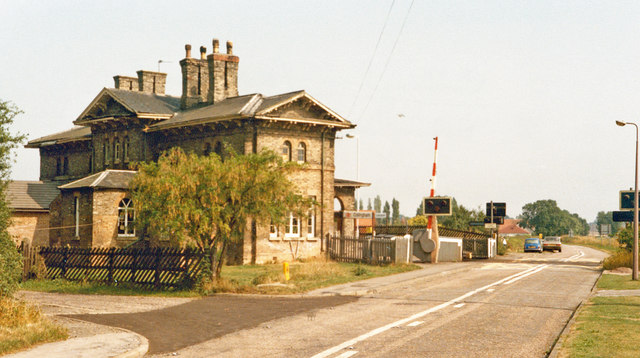 Collingham:  station and level-crossing, 1983