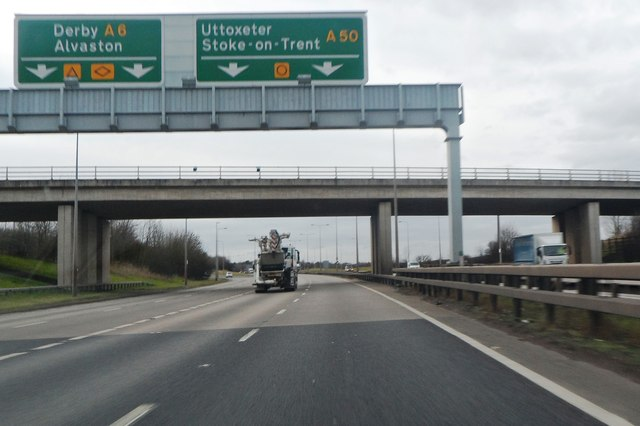 Derby Road crosses the A50 © Anthony Parkes cc-by-sa/2.0 ...