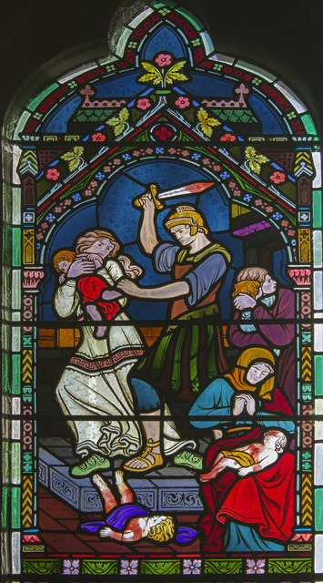 Detail, Stained glass window, St Mary's Gunthorpe