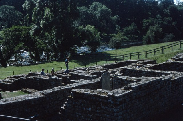 Roman bathhouse at Chesters Roman fort and river beyond