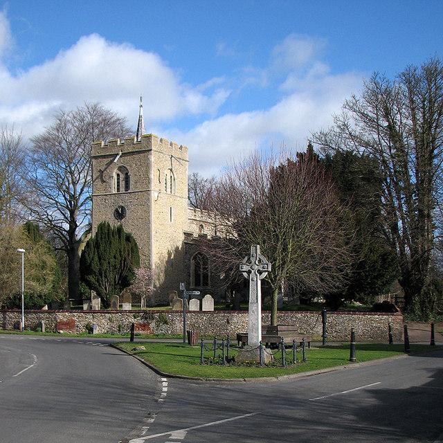 Duxford: St Peter's Church and the War Memorial