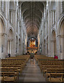 TG2308 : The nave, Norwich Cathedral by J.Hannan-Briggs