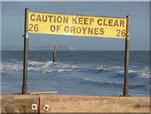 SZ1191 : Boscombe: warning sign on groyne 26 by Chris Downer
