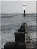 SZ1191 : Boscombe: along groyne 22 by Chris Downer