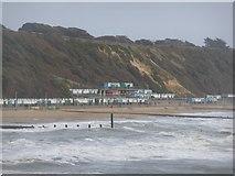 SZ1191 : Boscombe: layered beach huts at Manor Zig-Zag by Chris Downer