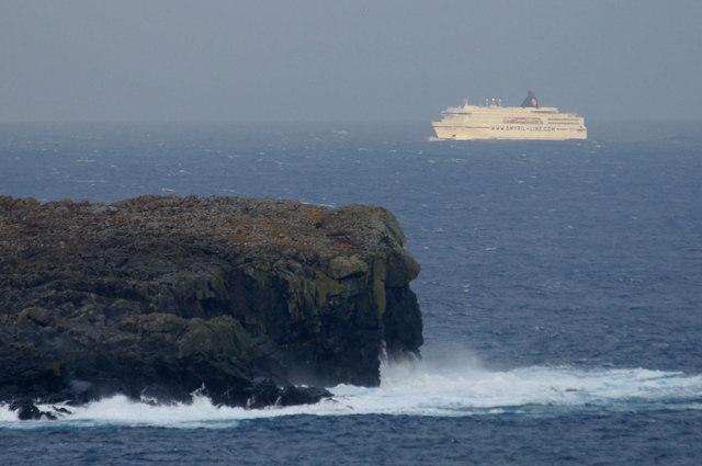MV Norrona passing the Nev, Harold's Wick