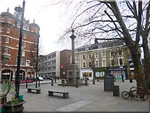 TQ3382 : Shoreditch, column & fountain by Mike Faherty