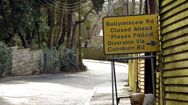 Road closure sign, Glenmachan, Belfast