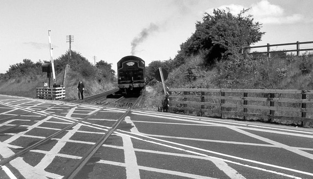 Steam train, Kilmakee level crossing, Templepatrick (1984)