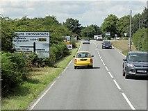 TM3959 : Farnham Road (A1094) Approaching Crossroads at Snape by David Dixon