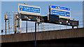 J3474 : Gantry signs, M3, Belfast by Albert Bridge