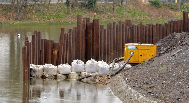 Revetment works, River Lagan, Belfast - March 2014(2)