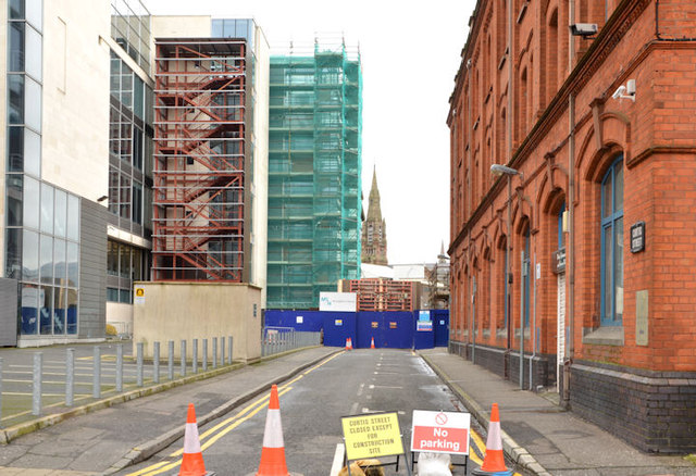 """Curtis Street and """"Block B"""", University of Ulster site, Belfast - March 2014(1)"""