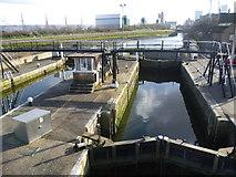 TQ3882 : Bow Tidal Locks and Bow Creek by Marathon