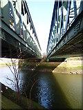TQ3882 : Railway bridges over the Lee Navigation by Marathon