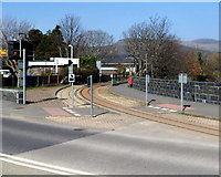 SH5738 : Narrow gauge track on the north side of High Street, Porthmadog by Jaggery