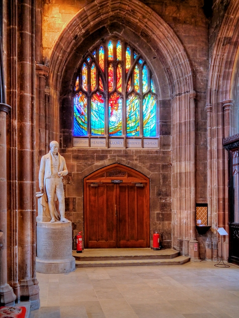 The Healing Window and Thomas Fleming's Statue