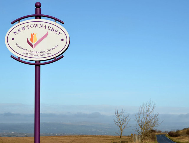 Newtownabbey boundary sign near Squire's Hill