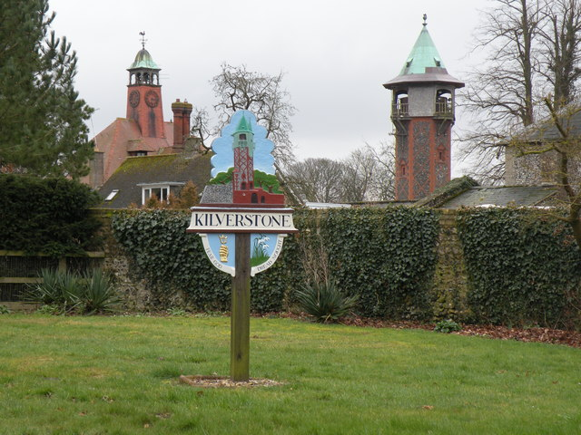 The village sign at Kilverstone