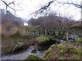 SH6342 : Footbridge near Ogof Llechwydd by David Medcalf