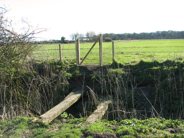 Plank bridge and gate on footpath to Lower Wood
