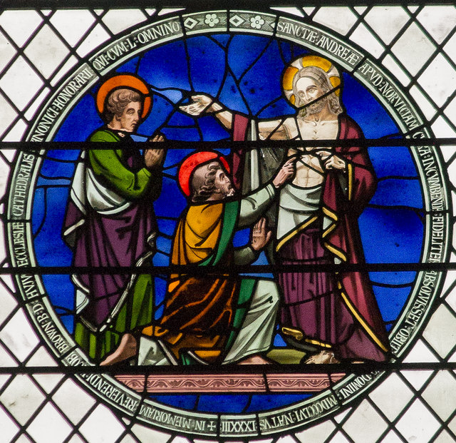 Doubting Thomas stained glass, Norwich Cathedral