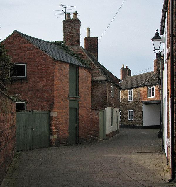 Oakham: a bend in Dean's Street