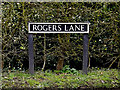 TM2398 : Rogers Lane sign by Geographer