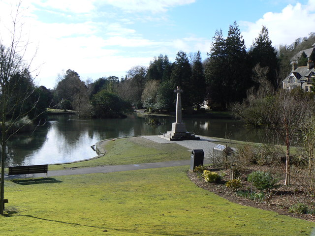 War memorial by the pond