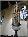 TL1407 : St Albans Cathedral: font by Stephen Craven