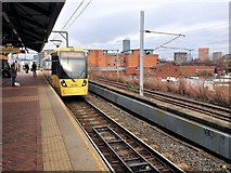 SJ8297 : Tram Approaching Cornbrook by David Dixon