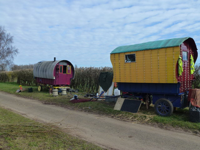 Colourful caravans on Station Road, Ailsworth