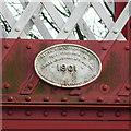 SK8508 : Date plate on Oakham Level Crossing footbridge by Alan Murray-Rust