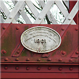 SK8508 : Date plate on Oakham Level Crossing footbridge by Alan Murray-Rust