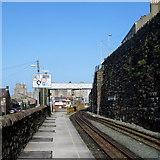 SH4862 : Station footbridge, Caernarfon by Jaggery