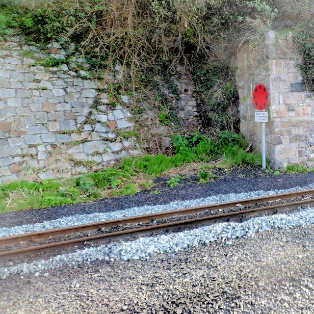 Token warning board at Caernarfon railway station
