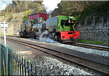 SH4862 : Locomotive 143 passes the water tower at Caernarfon railway station by Jaggery