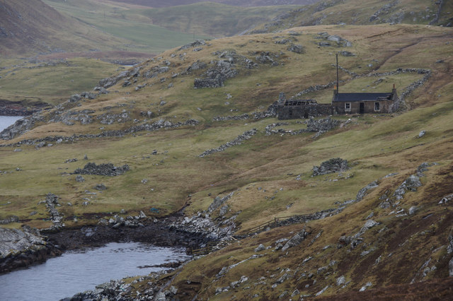 Old house at Snowbuil, beside Gunnister Voe, Northmavine