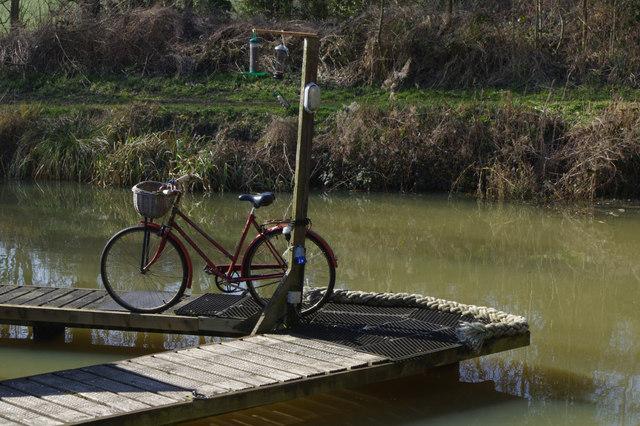 Bicycle and bird feeder, Welford Marina