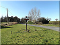 TM3689 : Mettingham Village sign & B1062 Watch House Hill by Geographer
