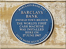 TQ3296 : Blue plaque on Barclays Bank, Church Street, EN2 by Mike Quinn