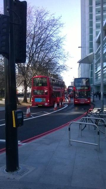 Contraflow bus lane, Euston Road