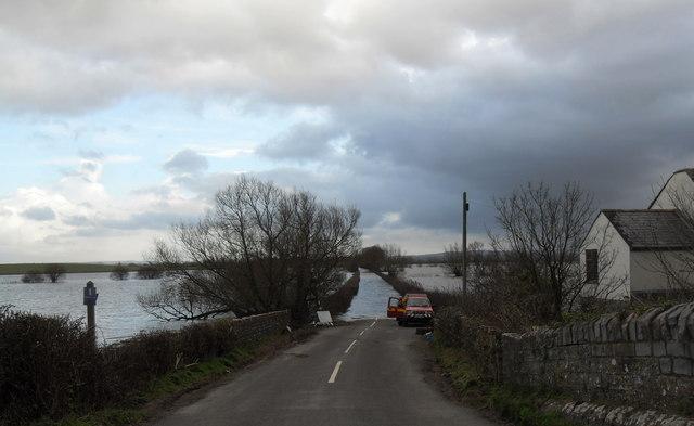 Flooded road to Muchelney
